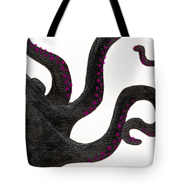 Black And Purple Octopus Tote Bag by Stefanie Forck