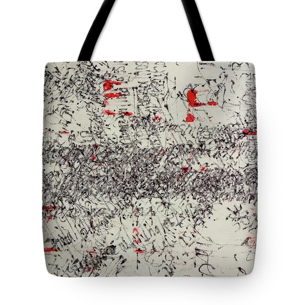 Tote Bag featuring the painting Black And Red 2 by Nancy Merkle