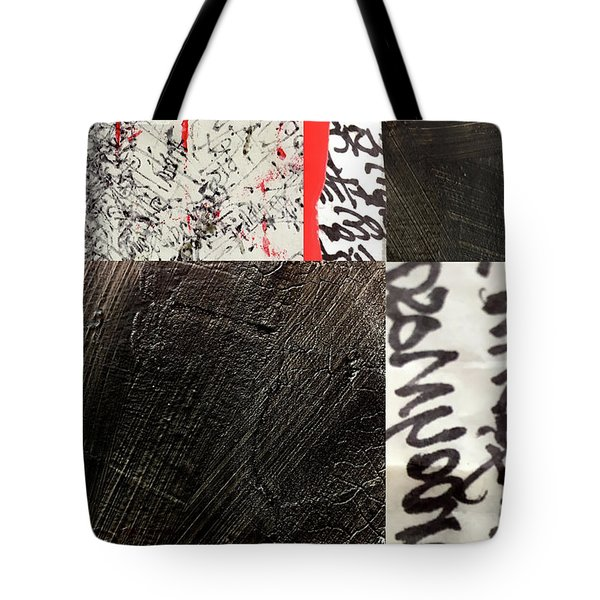 Tote Bag featuring the painting Black And Red 3 by Nancy Merkle
