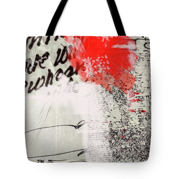 Tote Bag featuring the painting Black And Red 4 by Nancy Merkle