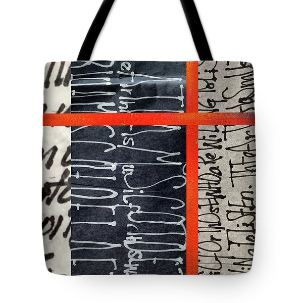 Tote Bag featuring the painting Black And Red 7 by Nancy Merkle