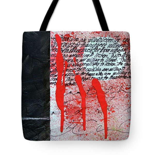 Tote Bag featuring the painting Black And Red 8 by Nancy Merkle