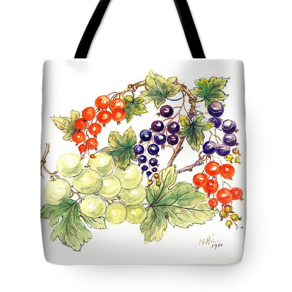 Black And Red Currants With Green Grapes Tote Bag by Nell Hill