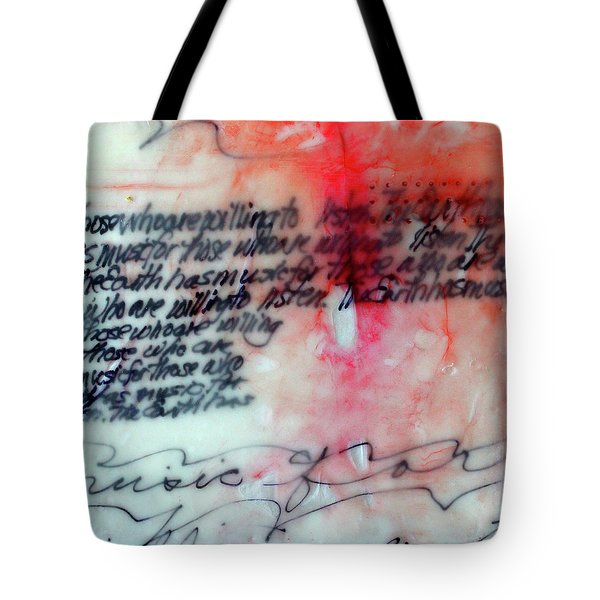 Tote Bag featuring the painting Black And Red Encaustic 1 by Nancy Merkle