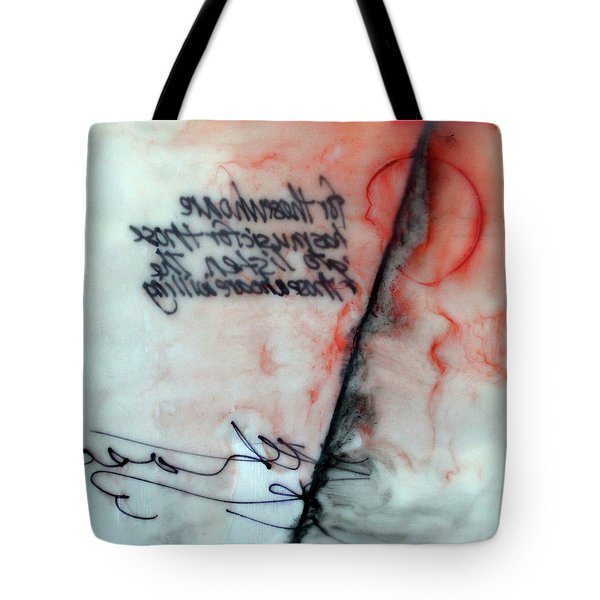 Tote Bag featuring the painting Black And Red Encaustic 2 by Nancy Merkle