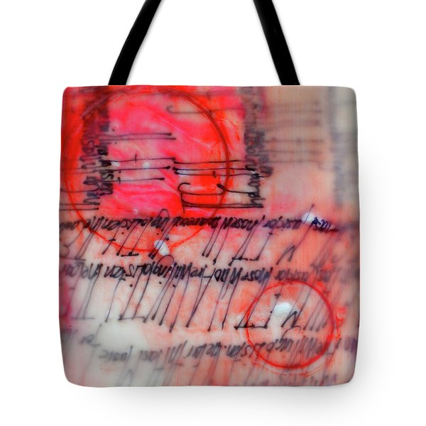 Tote Bag featuring the painting Black And Red Encaustic 3 by Nancy Merkle