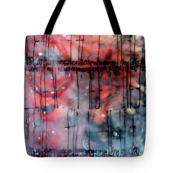 Tote Bag featuring the painting Black And Red Encaustic 4 by Nancy Merkle