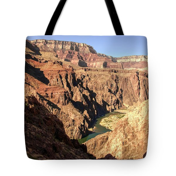 Black And Silver Bridges Spanning The Colorado River  Grand Canyon National Park Tote Bag