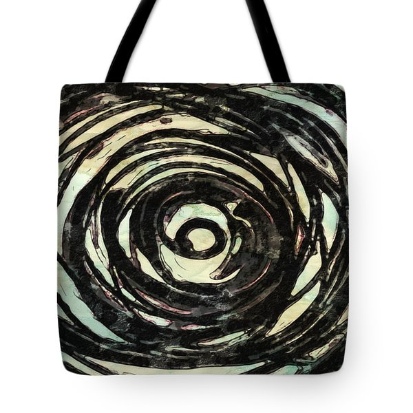 Tote Bag featuring the painting Black And White Abstract Curves by Joan Reese