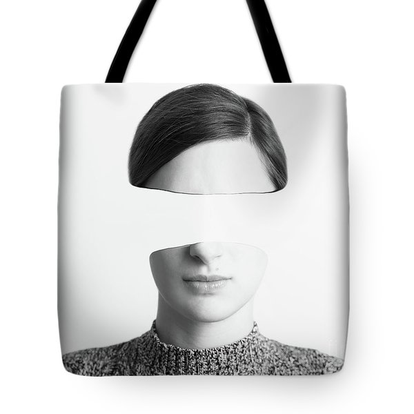 Black And White Abstract Woman Portrait Of Identity Theft Concept Tote Bag by Radu Bercan