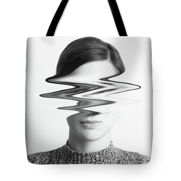 Black And White Abstract Woman Portrait Of Restlessness Concept Tote Bag by Radu Bercan