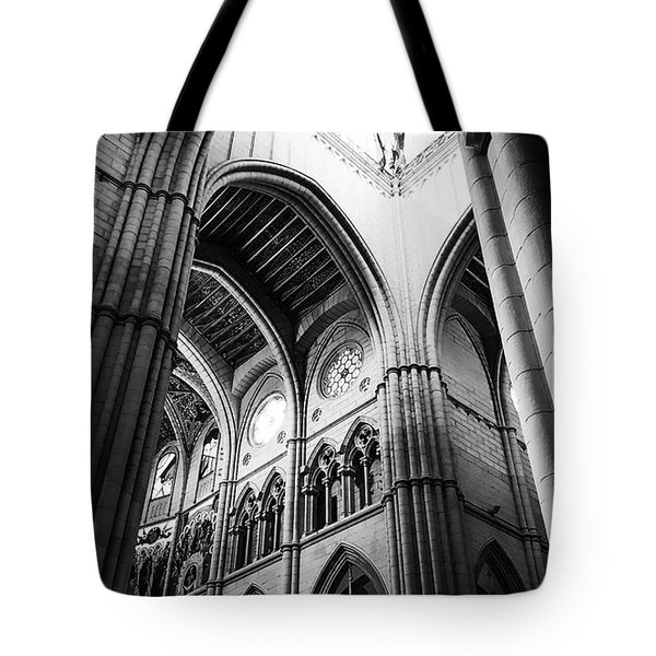 Black And White Almudena Cathedral Interior In Madrid Tote Bag