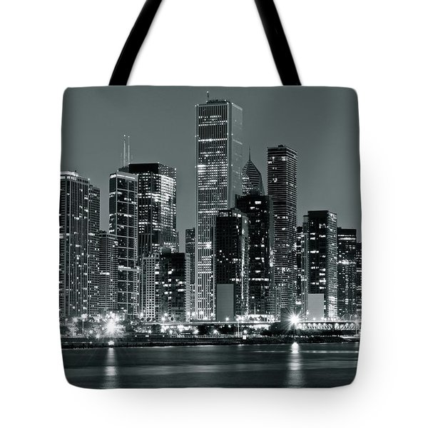 Tote Bag featuring the photograph Black And White And Grey Chicago Night by Frozen in Time Fine Art Photography