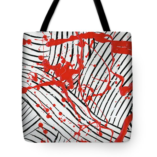 Black And White And Red All Over 1 Tote Bag