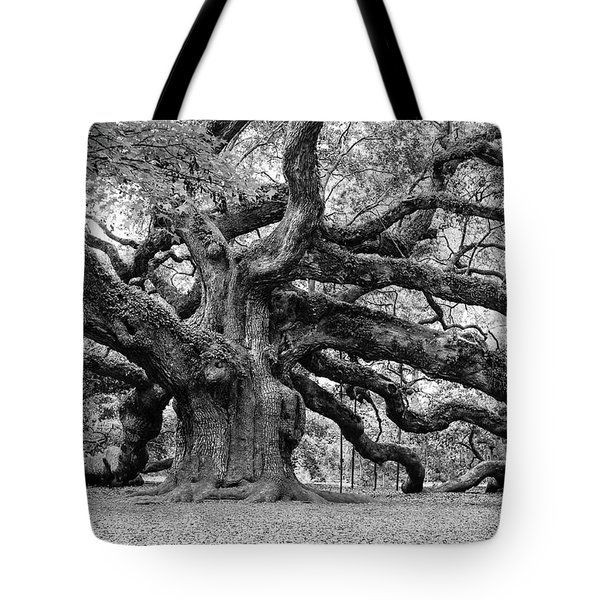 Tote Bag featuring the photograph Black And White Angel Oak Tree by Louis Dallara