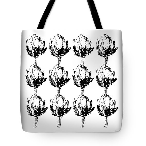 Black And White Artichokes- Art By Linda Woods Tote Bag by Linda Woods