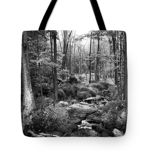 Black And White Babbling Brook Tote Bag