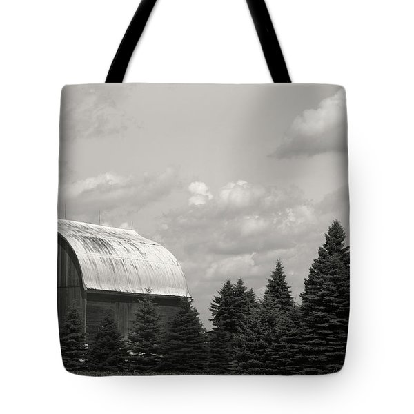 Black And White Barn Tote Bag by Joann Copeland-Paul