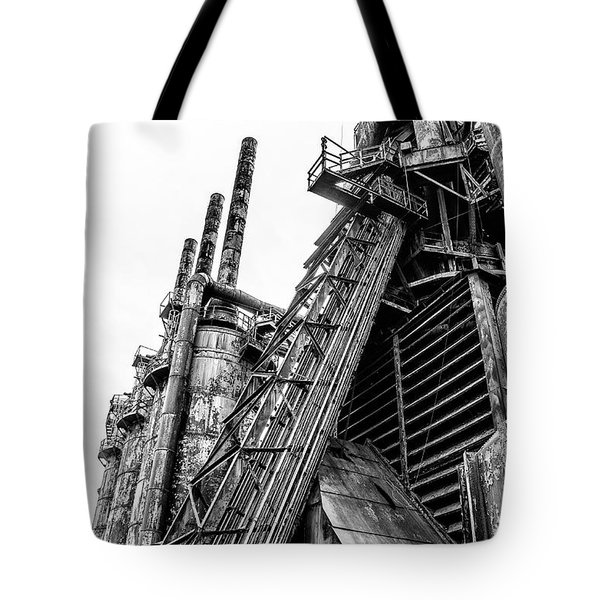 Black And White - Bethlehem Steel Mill Tote Bag by Bill Cannon