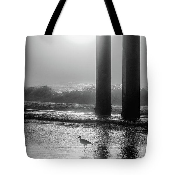 Tote Bag featuring the photograph Black And White Bird Beach by John McGraw
