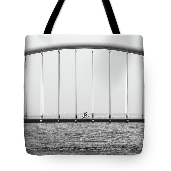 Tote Bag featuring the photograph Black And White Bridge by MGL Meiklejohn Graphics Licensing