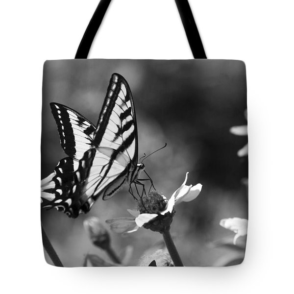 Black And White Butterfly On Flower Tote Bag