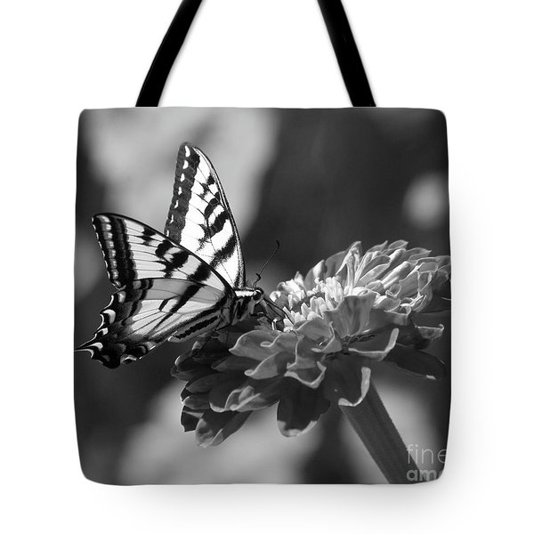 Black And White Butterfly On Zinnia Tote Bag