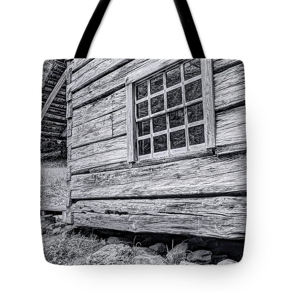 Black And White Cabin In The Forest Tote Bag