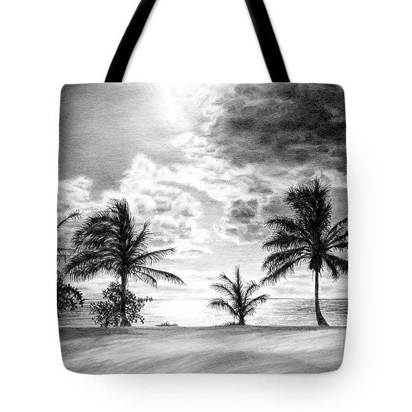 Black And White Caribbean Sunset Tote Bag