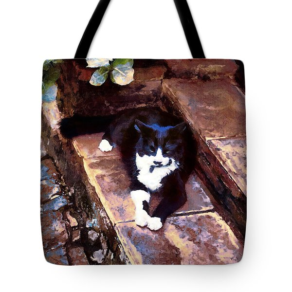 Black And White Cat Resting Regally Tote Bag