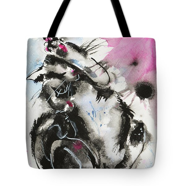 Tote Bag featuring the painting Black And White Cat Sleeping by Zaira Dzhaubaeva