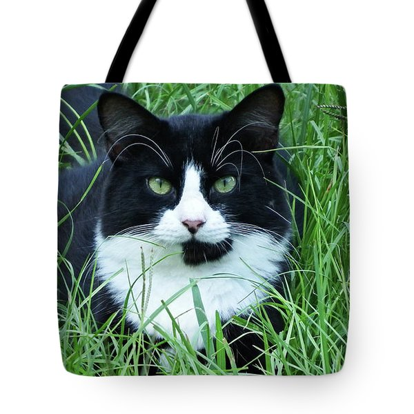 Black And White Cat With Green Eyes Tote Bag