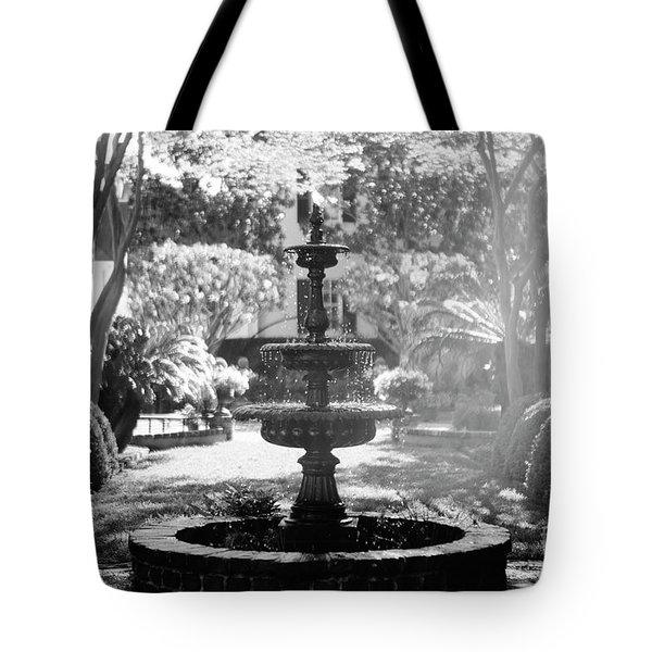 Black And White Charleston Fountain Tote Bag