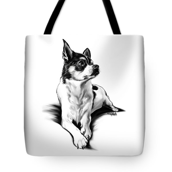Black And White Chihuahua By Spano Tote Bag