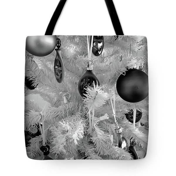 Tote Bag featuring the photograph Black And White Christmas Tree Ornaments by Aimee L Maher Photography and Art Visit ALMGallerydotcom