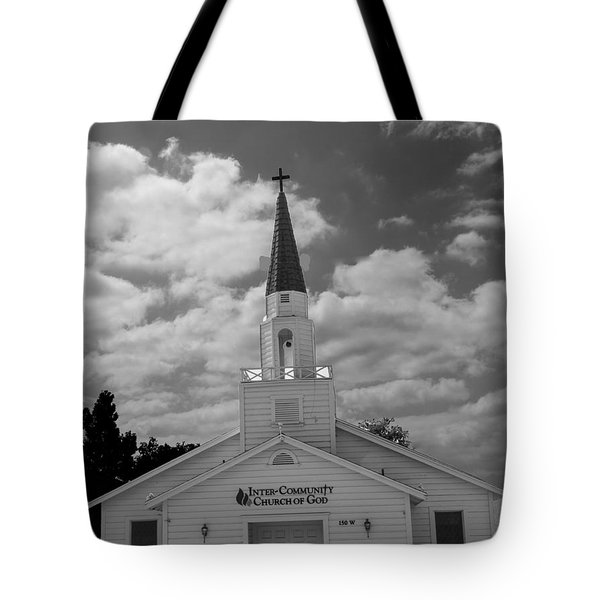 Tote Bag featuring the photograph Black And White Church by Robert Hebert