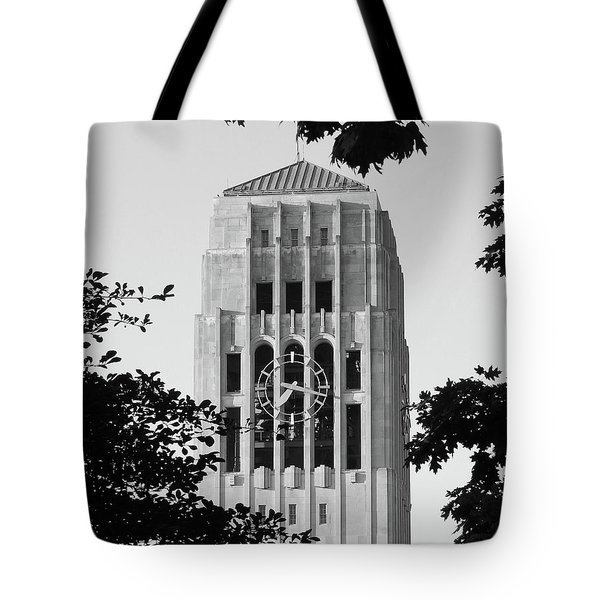 Black And White Clock Tower Tote Bag