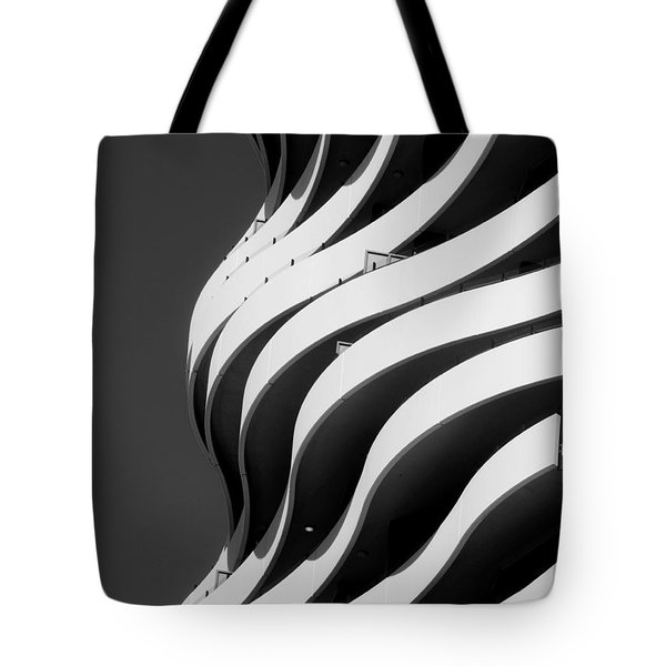 Black And White Concrete Waves Tote Bag
