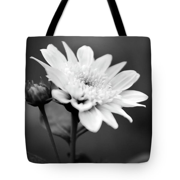 Tote Bag featuring the photograph Black And White Coreopsis Flower by Christina Rollo