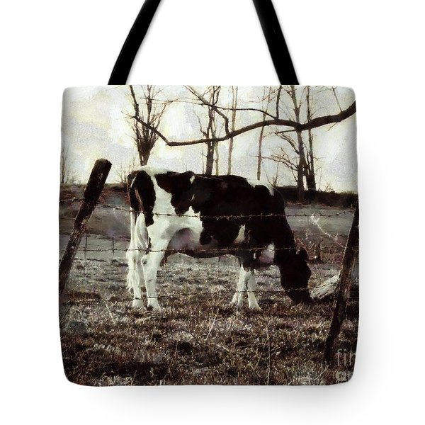 Tote Bag featuring the photograph Black And White - Cow In Pasture - Vintage by Janine Riley
