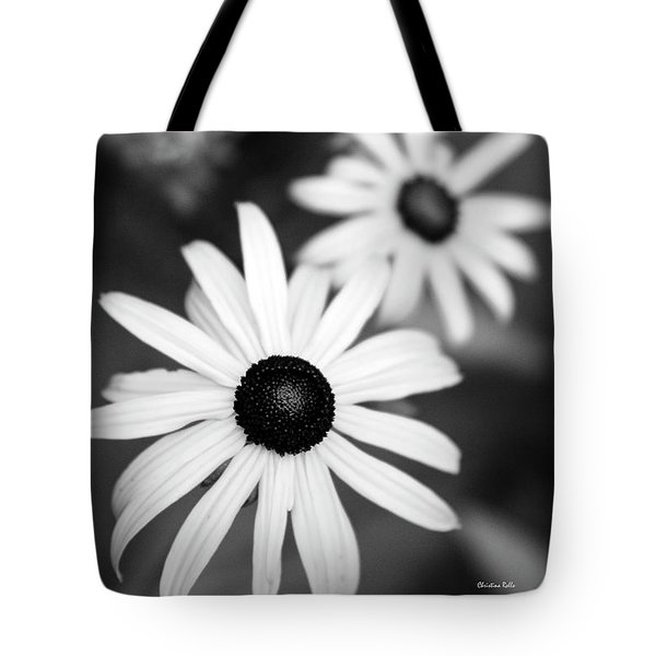 Tote Bag featuring the photograph Black And White Daisies by Christina Rollo
