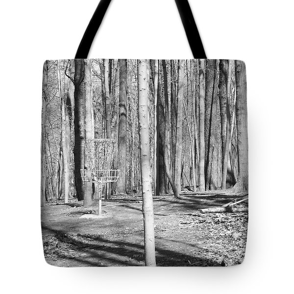Black And White Disc Golf Basket Tote Bag by Phil Perkins