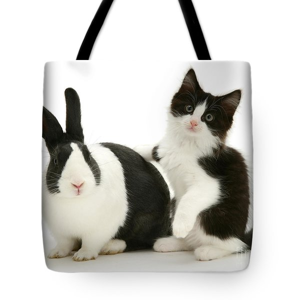 Black And White Double Act Tote Bag