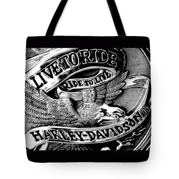 Black And White Emblem Tote Bag