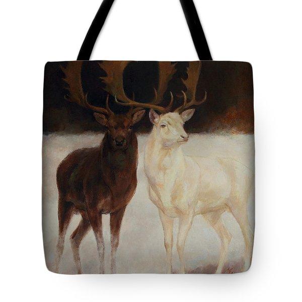Black And White Fallow Deers Tote Bag