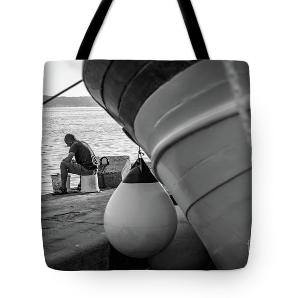 Black And White - Fisherman Cleaning Fish On Docks Of Kastel Gomilica, Split Croatia Tote Bag