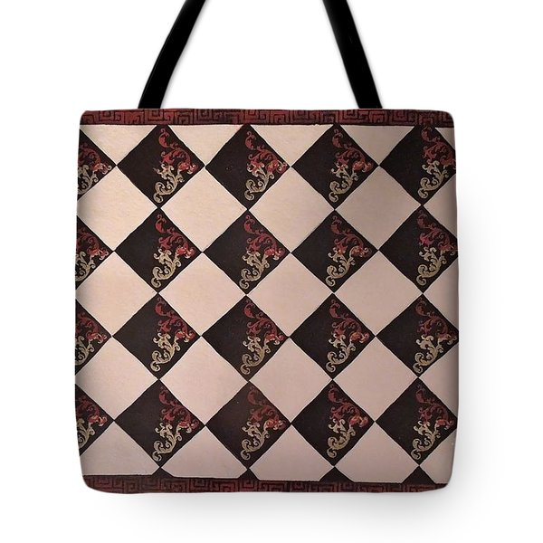 Black And White Checkered Floor Cloth Tote Bag