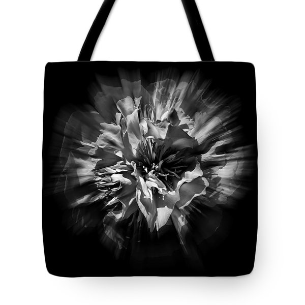 Black And White Flower Flow 1 Tote Bag by Brian Carson