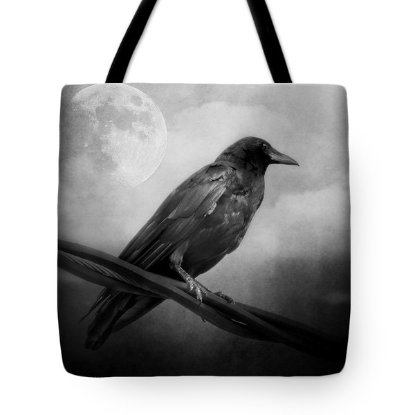 Black And White Gothic Crow Raven Art Tote Bag