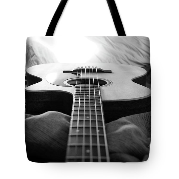 Tote Bag featuring the photograph Black And White Guitar by MGL Meiklejohn Graphics Licensing